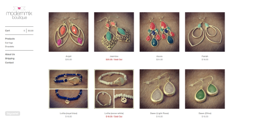 Modern Mix Boutique's new jewelry e-commerce site