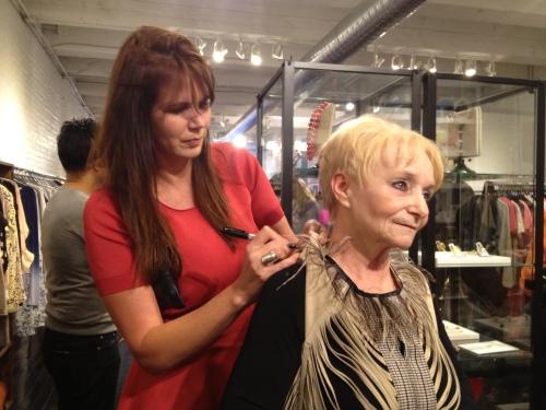 Treana Peake signing Sue's Obakki piece!