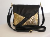 Black & Gold Studded Recycled Leather Purse