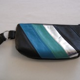 Black, Blue, Green & Silver Striped Recyled Leather Make-up Bag