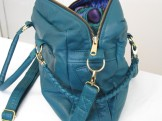 Teal Green Large Square Recycled Leather Purse