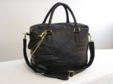 Black Large Square Recycled Leather Purse