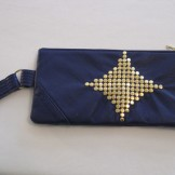 Indigo & Gold Studded Recycled Leather Purse