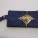 Indigo & Gold Studded Recycled Leather Purse