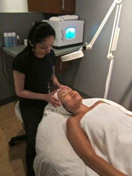 Skin expert Vivian giving Aurora a fab facial