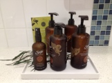 A selection of Saje products in the ladies washroom