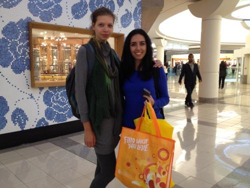 Shoppers Kama and Sima enjoyed the free swag