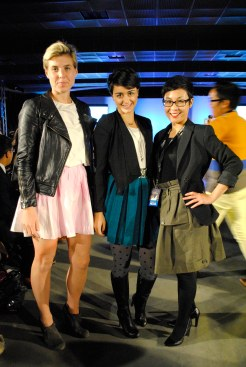 Tiffany, Clarissa, and Miranda all in black jackets and colourful skirts! Guess we all got the memo.
