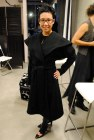 Miranda trying on Darius John Designs cashmere coat... just a tad too big!