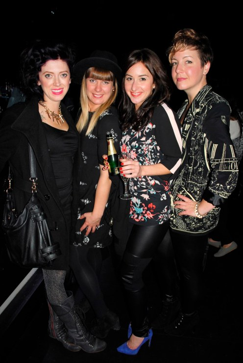 A stylishly dressed group of to-be bloggers: Brooke, Jane Constable, Candice, and Andrea Bomhof