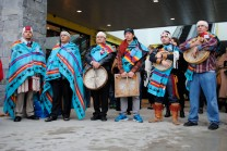 Squamish Nation representatives in a blessing ceremony