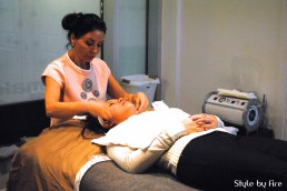 Skye Lintott doing a treatment using the PRIORI brand